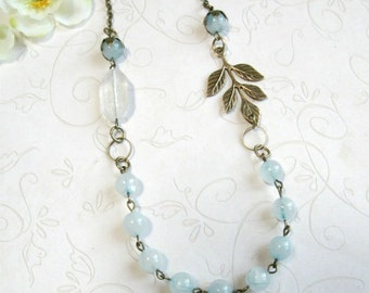 Blue jade necklace, vintage style, cottage chic