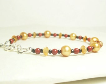 The Cat's Colours Bracelet, Gold, Red, Black and Orange - Sterling Silver.
