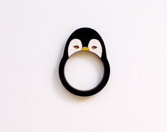 Penguin Wooden Ring . Wooden Jewelry Jewellery . Happy Feet . Antarctic Ocean . South Pole . Gift for Her . Animal Lover . Gift for Teens