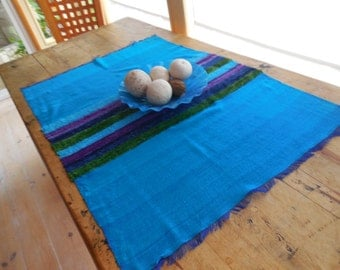 Handwoven Turquoise Table Runner Or Large Placemat