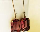 Vintage Rose Jewel Earrings, vintage look, transparent modern jewel