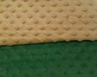 Minky Blanket- Green and Pastel Yellow  35 x 30