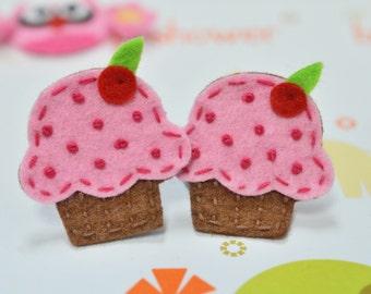 Set of 6pcs handmade felt cupcake--chocolate/baby pink (FT834)