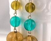 Olivine Bubble Earring Dangle, Retro Earrings, Light Green Drop Earrings, Lightweight MOD Statement Earrings, Bubble Dangle Earrings (3568)