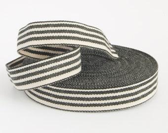 3 yards x Black and Cream striped french cotton ribbon, premium woven cotton tape, sewing tape, twill herringbone grosgrain