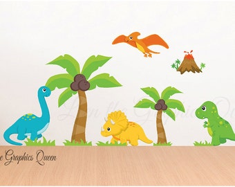 Dinosaur Wall Sticker Decals with palm trees - Reusable Dino Wall Decal Set - Kid Nursery Room Decor - T rex pterodactyl volcano triceratops