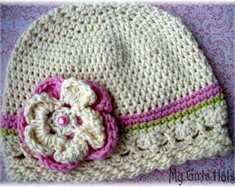Sweet Caroline-Crochet Hat-Lime Green-Soft Pink-Ivory-Flower Clip-Vintage Inspired Hat-Teen/Girls Hat-Toddler Hat-Baby Hat-Fall/Winter Hat