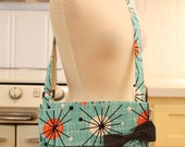 Messenger Bag Retro Starburst on Aqua Cross Body Bag Purse