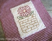 Summer Daisy Kitchen Towel, Hand Stitched, Kitchen Towel, Red