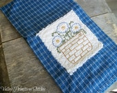 Summer Pansies Kitchen Towel, Flowers, Hand Stitched, Kitchen Towel, Blue