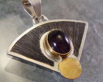 Art Deco Inspired Sterling Gold Amethyst Engraved Pendant