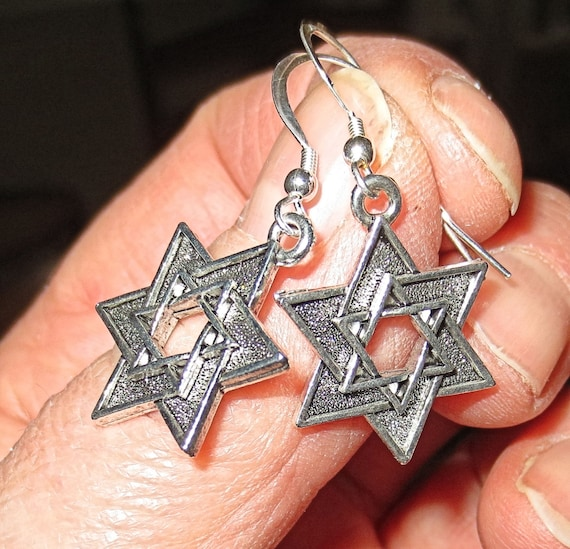 Double style Star of David Judaica earrings