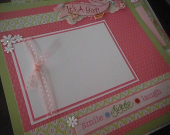 20 Premade Baby Girl 12x12 Scrapbook Pages for your daughter and album gift Jolees