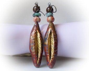Cocoon, organic nature forms earrings  handmade artisan jewelry polymer clay & stones aqua blue jade bronze chunky long large drop dangle