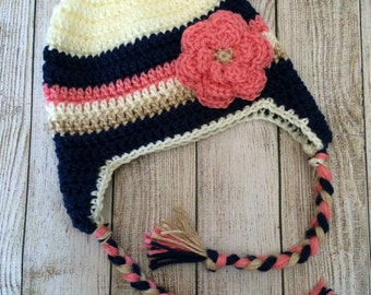 Crocheted Striped Earflap Hat with Flower