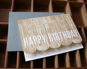 letterpress woodgrain birthday card