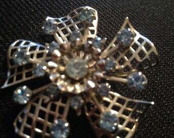 Vintage Silvertone Light Blue Rhinestone Flower Brooch Pin