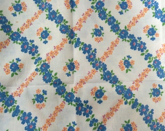 Vintage Blue and Yellow Lattice Work Floral Feed Sack Fabric (No Longer a Sack)