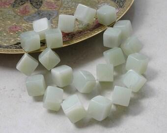 New Jade Serpentine Beads- 10mm Cube Cross Drilled Jade Gemstone Beads For Jewelry Making