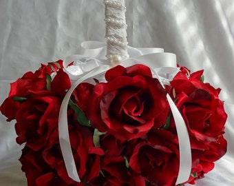 Bridal Basket Flower Girl Basket Wedding Basket Rose Basket Red Roses