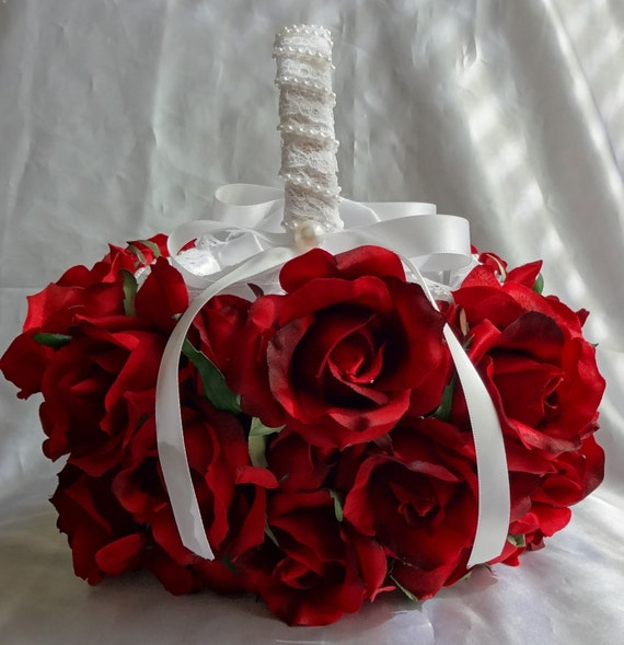 Bridal Basket Flower Girl Basket Wedding Basket Rose Basket Red Roses