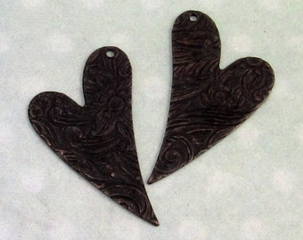 Matte Black Embossed Heart Drops, Trinity Brass, 1 Pair, MB24