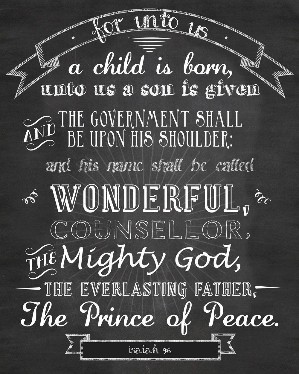 Isaiah 9:6 Chalkboard Christmas chalkboard printable instant download ...