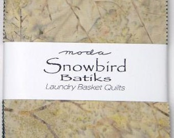 SALE 5 inch Squares charm pack SNOWBIRD BATIKS Moda Fabric by Laundry Basket Quilts