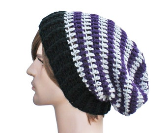 Striped Slouch Beanie Nightmare Before Christmas Purple Black and Grey with Ribbed Brim