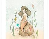 Children's Wall Art Print - The Mermaid & The Seahorses-Poster- Girl Kids Nursery Room Decor-seahorses -  Nursery decor - Kids room decor -