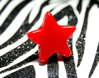 Red Star Ring, Red Resin Adjustable Ring, Statement Jewelry