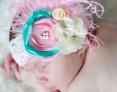Lace Couture Headband with Aqua Cream Pink Satin Chiffon Flowers + Ostrich Feathers