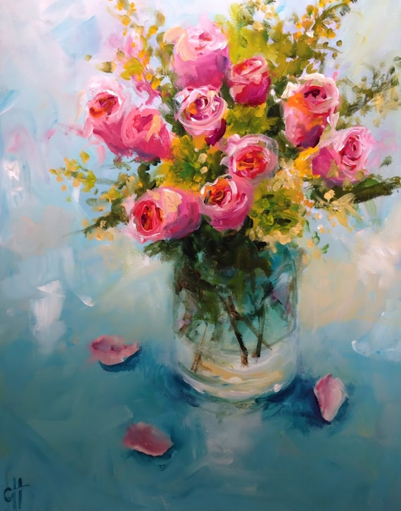 Items similar to Roses in a Glass Vase- Original Acrylic ...