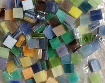 120 Spectrum Pearl Opal Four Color Art Glass Tile Mix - Eleven Colors in Four Different Sizes.