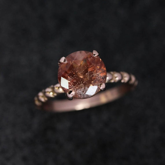 Oregon Sunstone Ring, 14k Rose Gold Ring, Gemstone Ring, Gold Band, Recycled Gold, USA Mined, Conflict Free, Milgrain