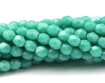 Czech Glass Beads Fire Polished 3mm Persian Turquoise (50) CZF481