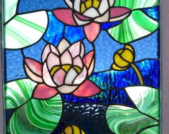Waterlilies -  Stained glass panel
