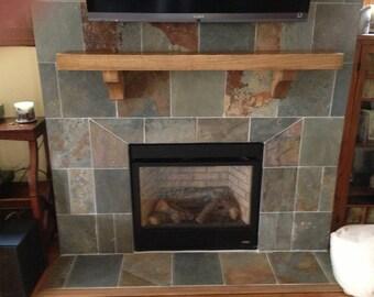 Oak or Ash Wood Mantel with Corbels