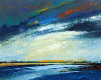 "BREAKTHROUGH, oil painting, landscape, original oil, 100% charity donation, original painting  6""x8"" canvas panel, sky, clouds, ocean"
