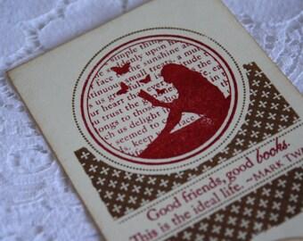 Handmade Bookmark Favor - Stamped Image  - Vintage Style