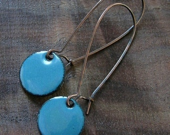 Blue Dangle Earrings, Copper Enamel Jewelry, Nickel Free Kidney Earwires, Delft Blue, Handmade Earrings