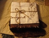 Cowboy, cowgirl Hand-Embroidered Pillowcases- Wedding, Anniversary, Housewarming