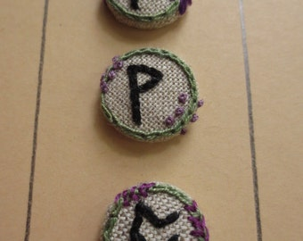 embroidered rune buttons