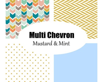 Custom Crib Bedding-3 piece-Multi Chevron in Mustard and Mint