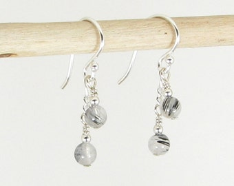 Petite Tourmalated Quartz and Sterling Silver Earrings