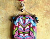 Red and Pink and Blue Polymer Clay Pendant / Necklace