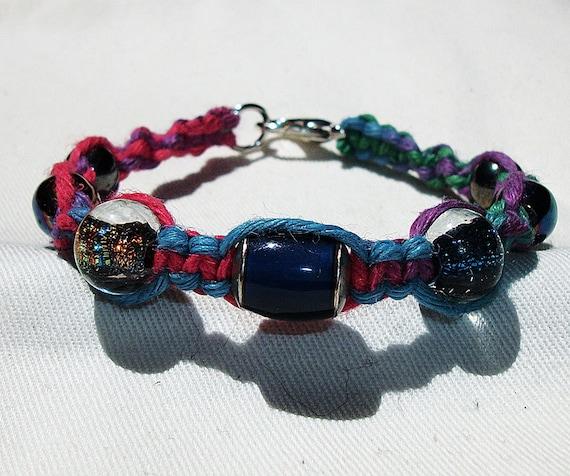 Dichroic and Mood Bead Muted Rainbow Hemp Bracelet - Glass Bead Color Changing Hemp Jewelry