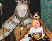 Queen Elizabeth l Doll Miniature on Coronation Day Historical Art Collectible