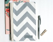 Journal Cover in Gray Chevron, Gift for Writers