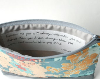 Cosmetic Bag with Quote, Personalized Gift Idea, Braver Than You Know, Floral Zipper Clutch Purse, Gift for Daughters
